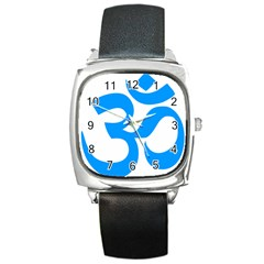 Hindu Om Symbol (ocean Blue) Square Metal Watch by abbeyz71