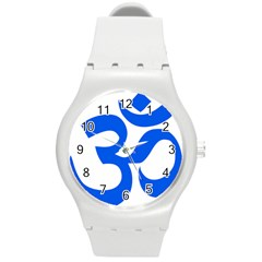Hindu Om Symbol (blue) Round Plastic Sport Watch (m) by abbeyz71