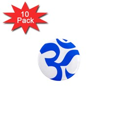 Hindu Om Symbol (blue) 1  Mini Magnet (10 Pack)  by abbeyz71