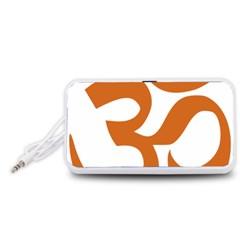 Hindu Om Symbol (Chocolate Brown) Portable Speaker (White)