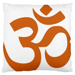 Hindu Om Symbol (chocolate Brown) Large Flano Cushion Case (two Sides) by abbeyz71