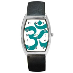 Hindu Om Symbol (dark Cyan) Barrel Style Metal Watch by abbeyz71