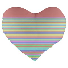 All Ratios Color Rainbow Pink Yellow Blue Green Large 19  Premium Heart Shape Cushions by Mariart