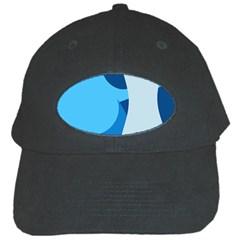 Blue Polka Black Cap by Mariart