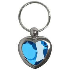 Blue Polka Key Chains (heart)  by Mariart