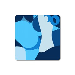 Blue Polka Square Magnet by Mariart