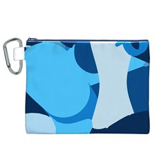 Blue Polka Canvas Cosmetic Bag (xl) by Mariart