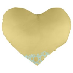 Bubbles Yellow Blue White Polka Large 19  Premium Heart Shape Cushions by Mariart