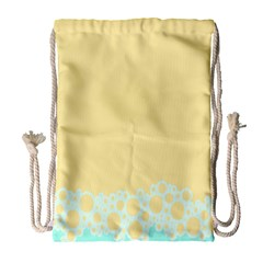 Bubbles Yellow Blue White Polka Drawstring Bag (large) by Mariart