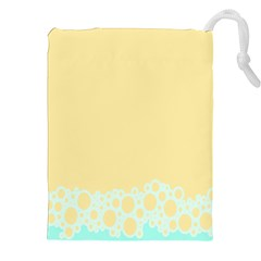 Bubbles Yellow Blue White Polka Drawstring Pouches (xxl) by Mariart