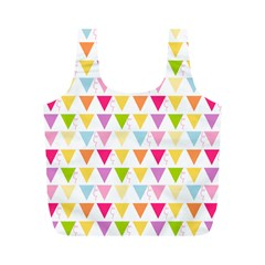 Bunting Triangle Color Rainbow Full Print Recycle Bags (m)  by Mariart