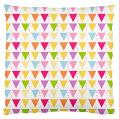 Bunting Triangle Color Rainbow Large Flano Cushion Case (one Side) by Mariart