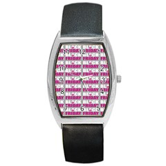 Black Friday Sale White Pink Disc Barrel Style Metal Watch by Mariart