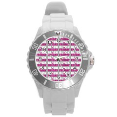Black Friday Sale White Pink Disc Round Plastic Sport Watch (l) by Mariart