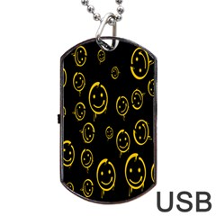 Face Smile Bored Mask Yellow Black Dog Tag Usb Flash (one Side) by Mariart