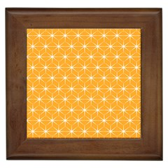 Yellow Stars Iso Line White Framed Tiles by Mariart