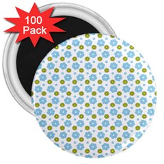 Blue Yellow Star Sunflower Flower Floral 3  Magnets (100 Pack) by Mariart