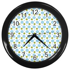 Blue Yellow Star Sunflower Flower Floral Wall Clocks (black) by Mariart