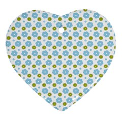 Blue Yellow Star Sunflower Flower Floral Heart Ornament (two Sides) by Mariart