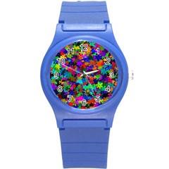 Flowersfloral Star Rainbow Round Plastic Sport Watch (s) by Mariart