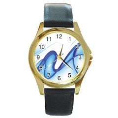 Glittering Abstract Lines Blue Wave Chefron Round Gold Metal Watch by Mariart