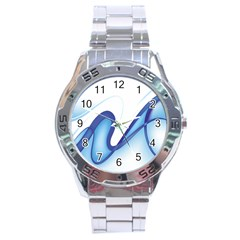 Glittering Abstract Lines Blue Wave Chefron Stainless Steel Analogue Watch by Mariart