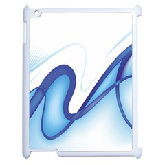 Glittering Abstract Lines Blue Wave Chefron Apple Ipad 2 Case (white) by Mariart