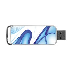 Glittering Abstract Lines Blue Wave Chefron Portable Usb Flash (two Sides) by Mariart