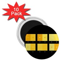 Horizontal Color Scheme Plaid Black Yellow 1 75  Magnets (10 Pack)  by Mariart