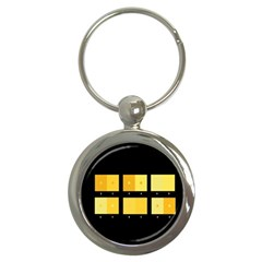 Horizontal Color Scheme Plaid Black Yellow Key Chains (round)  by Mariart