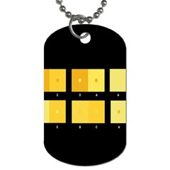 Horizontal Color Scheme Plaid Black Yellow Dog Tag (two Sides) by Mariart