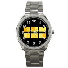 Horizontal Color Scheme Plaid Black Yellow Sport Metal Watch by Mariart