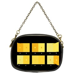 Horizontal Color Scheme Plaid Black Yellow Chain Purses (two Sides)  by Mariart