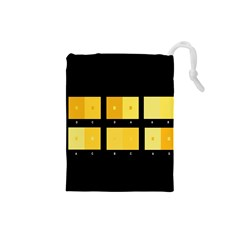 Horizontal Color Scheme Plaid Black Yellow Drawstring Pouches (small)  by Mariart