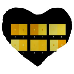 Horizontal Color Scheme Plaid Black Yellow Large 19  Premium Flano Heart Shape Cushions by Mariart