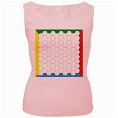 Hex Grid Plaid Green Yellow Blue Orange White Women s Pink Tank Top by Mariart