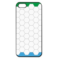 Hex Grid Plaid Green Yellow Blue Orange White Apple Iphone 5 Seamless Case (black) by Mariart