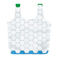 Hex Grid Plaid Green Yellow Blue Orange White Full Print Recycle Bags (l)  by Mariart