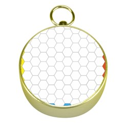 Hex Grid Plaid Green Yellow Blue Orange White Gold Compasses by Mariart