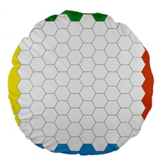Hex Grid Plaid Green Yellow Blue Orange White Large 18  Premium Flano Round Cushions by Mariart