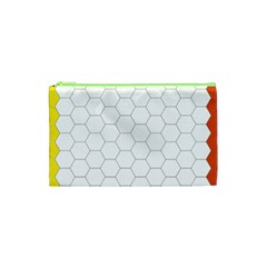 Hex Grid Plaid Green Yellow Blue Orange White Cosmetic Bag (xs) by Mariart