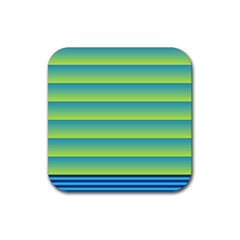Line Horizontal Green Blue Yellow Light Wave Chevron Rubber Coaster (square)  by Mariart