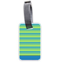 Line Horizontal Green Blue Yellow Light Wave Chevron Luggage Tags (two Sides) by Mariart