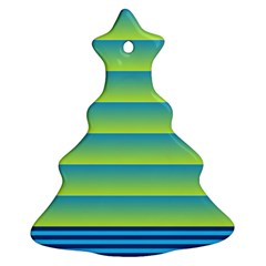 Line Horizontal Green Blue Yellow Light Wave Chevron Christmas Tree Ornament (two Sides) by Mariart