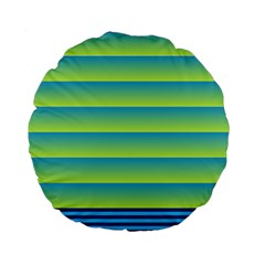 Line Horizontal Green Blue Yellow Light Wave Chevron Standard 15  Premium Flano Round Cushions by Mariart