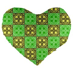 Clipart Aztec Green Yellow Large 19  Premium Flano Heart Shape Cushions by Mariart