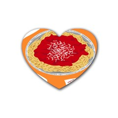 Instant Noodles Mie Sauce Tomato Red Orange Knife Fox Food Pasta Rubber Coaster (heart)  by Mariart