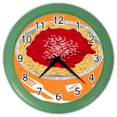 Instant Noodles Mie Sauce Tomato Red Orange Knife Fox Food Pasta Color Wall Clocks by Mariart