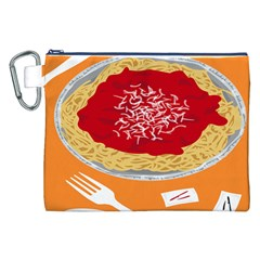 Instant Noodles Mie Sauce Tomato Red Orange Knife Fox Food Pasta Canvas Cosmetic Bag (xxl) by Mariart