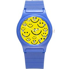 Linus Smileys Face Cute Yellow Round Plastic Sport Watch (s) by Mariart